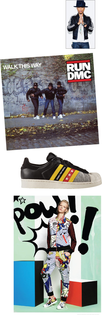 From top: Pharrell Williams and his Supercolor Superstar collab; Run-DMC sporting Superstars; Rita Ora's collab.