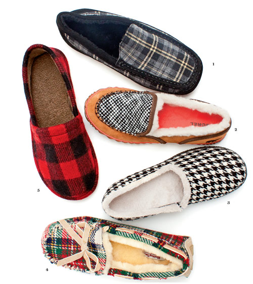 Dapper Dreams Menswear-inspired materials dress up slippers. 1. Bearpaw  2. Sorel  3. Vionic  4. Bedroom Athletics  5. Woolrich