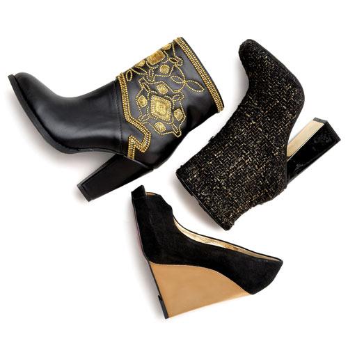 A Midas touch illuminates classic black dress styles.