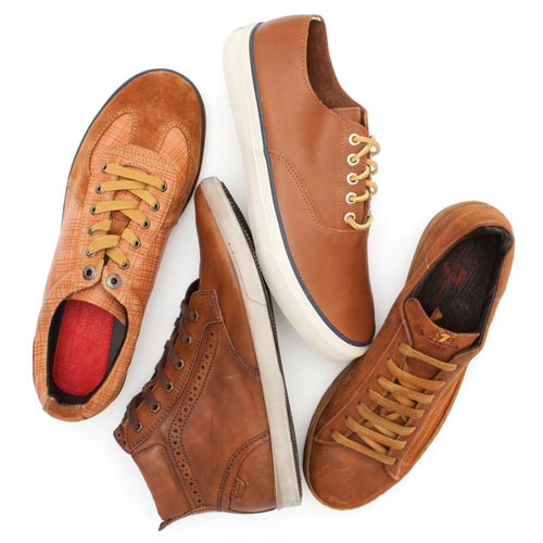 Fine leathers sharpen men's casual sneakers.