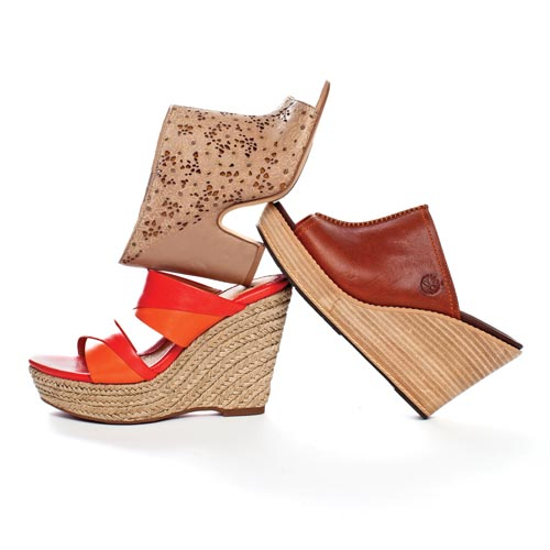 Mules giddy up with natural materials and chunky heels.